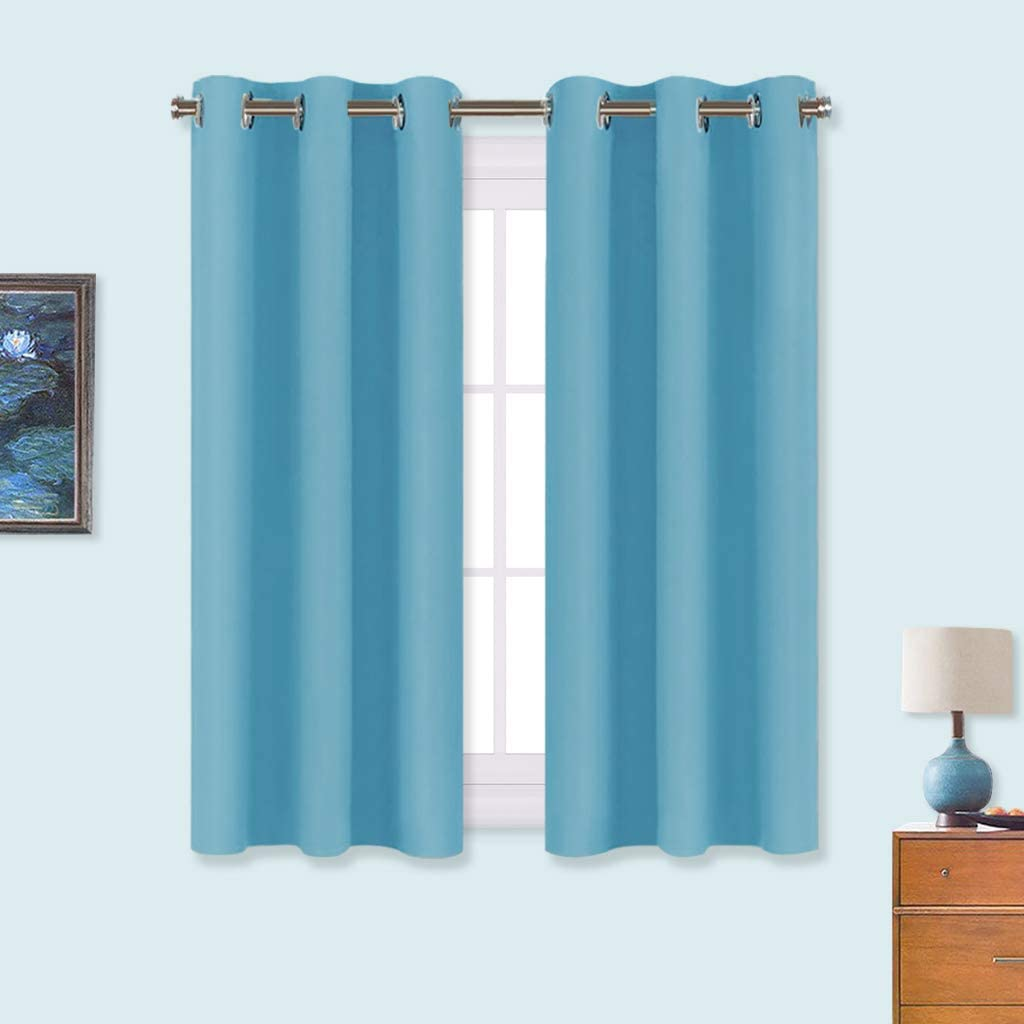 NICETOWN Blackout Draperies Curtains for Kids Room, Window Treatment Thermal Insulated Solid Grommet Blackout Drape Panels for Bedroom (Teal Blue, Set of 2, 34 by 54 inches)