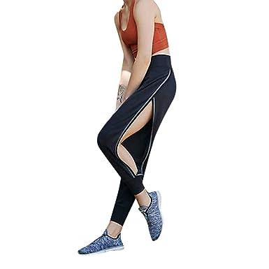 b0599e4481f SANFASHION Pantalons de Yoga Femmes Pants Creux Sport Solide Entraînement Gym  Fitness Chic Automne Hiver(