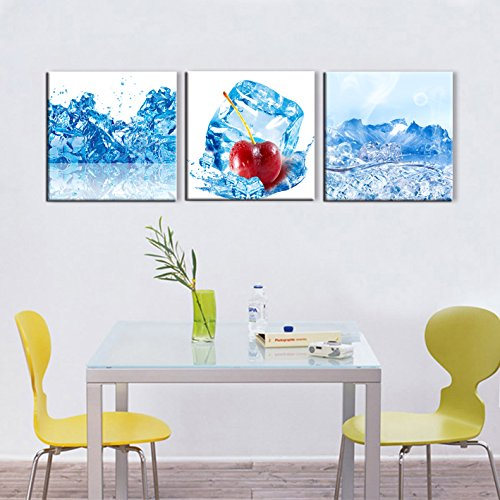 Cherry with Ice Painting on Canvas 3 PCS Navy Blue Extra Large Wall Art,HD Prints Fresh Food and Fruit Pictures Giclee Artwork for Kitchen Home Decor Wooden Framed Stretched Ready to Hang(72''Wx24''H) - Venetian Wall Art