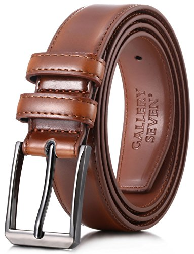Gallery Seven Mens belt - Genuine Leather Dress Belt - Classic Casual Belt in gift box - Burnt Umber - Size 38 (Waist: 36)