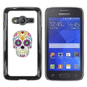 Shell-Star Arte & diseño plástico duro Fundas Cover Cubre Hard Case Cover para Samsung Galaxy Ace4 / Galaxy Ace 4 LTE / SM-G313F ( Skull Floral White Minimalist Spring )