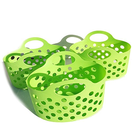 Plastic Baskets With Handles (Plastic Basket For Shelves Bathroom Caddy Flexible Oval Baskets Classroom Storage Organizing with Handles Small Toys Kitchen Fruit Holder Green Lightweight School Home Shelf Organizer Set of 3)