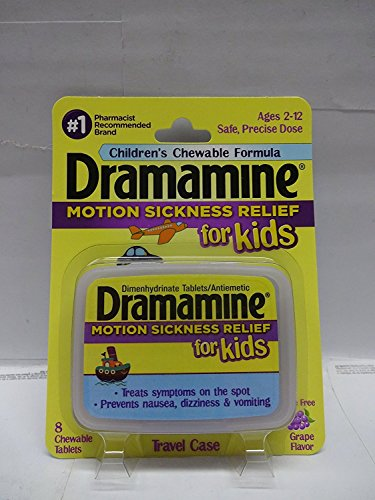 Dramamine Motion Sickness Relief for Kids, 8 Count Grape Flavor (Pack of 4) by Dramamine