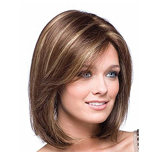 Beauty : LEJIMEI Bob Wigs for White Women Short Straight Wig Brown Natural Heat Resistant Synthetic Hair Fashion Wig + Wig Cap