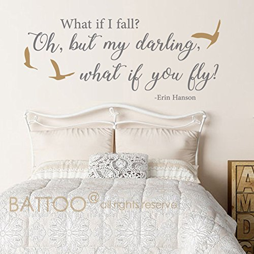 Darling Overalls - BATTOO What if I fall- Oh, but my darling, what if I fly - Wall Decal Sticker Girls Room Vinyl Wall Art Love Wall Saying with Birds Wall Decor(dark gray+gold,32