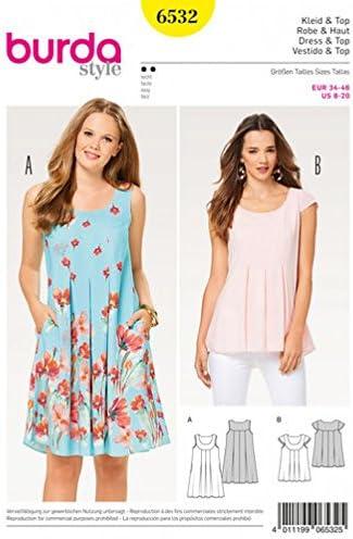 Burda-6532 Burda Ladies Easy Sewing Pattern 6532 Loose Fit Dress /& Top
