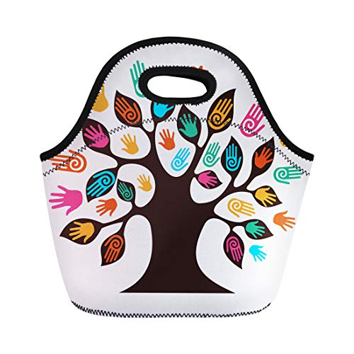 Insulated Media File - Semtomn Neoprene Lunch Tote Bag Diversity Tree Hands File Layered for Easy Manipulation Reusable Cooler Bags Insulated Thermal Picnic Handbag for Travel,School,Outdoors,Work