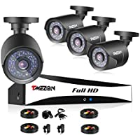 TMEZON 8-Channel 720P CCTV Security System ,1080N AHD DVR Recorder and (4)1.0MP 720P(1280TVL) Night Vision Indoor/Outdoor Weatherproof Surveillance Cameras