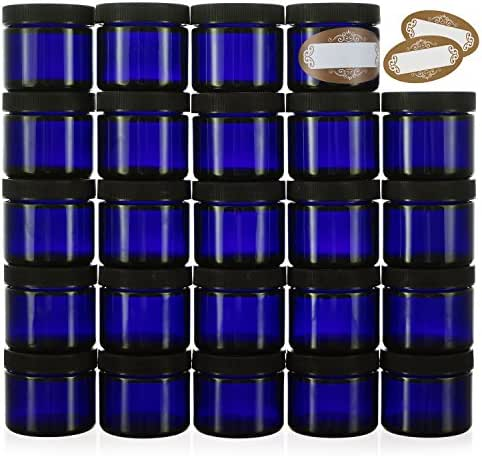 Pack of 24-2 Oz Small Glass Jars with Air-tight Lids - Empty Little Glass Refillable Cosmetic Containers with Labels - Cobalt Blue - BPA Free (24 Pack)