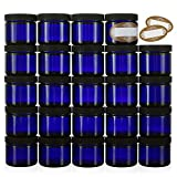 blue cosmetic containers - 2 Oz Small Glass Jars with Air-tight Lids - 24 Pack Empty Little Glass Refillable Cosmetic Containers with Labels - Cobalt Blue - BPA Free