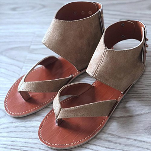 FORUU Summer Women Sandals Flats Fashion Shoes Casual Rome Style Sandals Casual (37, Khaki) by FORUU womens shoes (Image #5)
