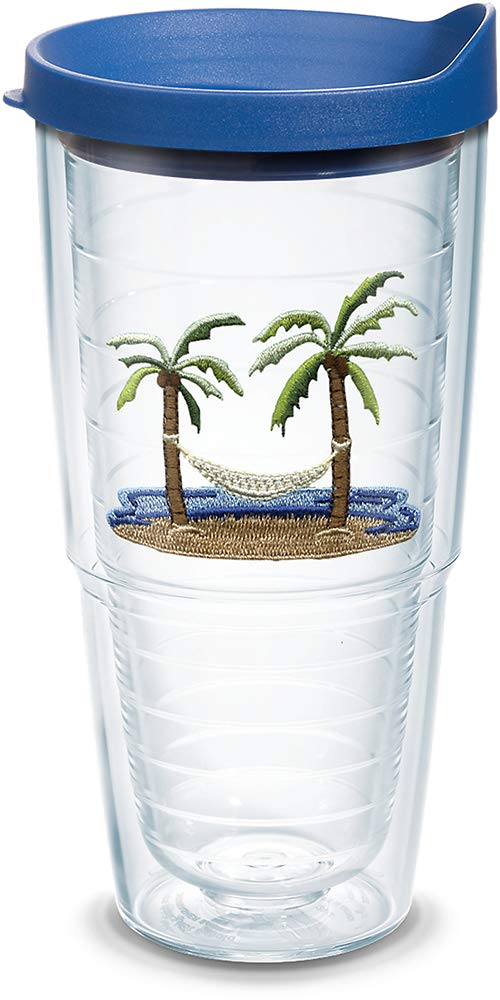 Tervis 1302103 Palm Tree /& Hammock Scene Insulated Tumbler with Emblem and Blue Lid 24oz Clear