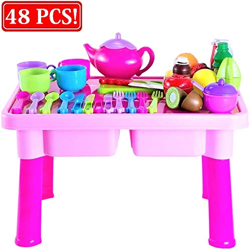 Toddler Toy Dishes & Play Tea Set with Folding Table | Includes 4-Set Toy Plates, Cups & Utensils | Cutting Play Fruits & Knife | Kids Pretend Play Kitchen Accessories Gift for Toddlers & Little Girls ()