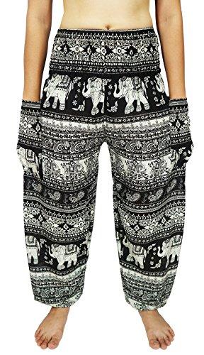Lovely Creations Women's Smocked Waist 21-38 Inchs Hippie Boho Harem Pants (SJ Black3)