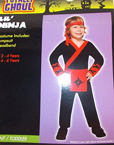 Lil' Ninja Red Black Child Toddler Costume Jumpsuit 2-4 NIP -