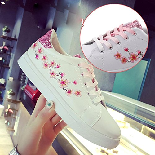 Transer Shining Ladies Embroidery Flower Running Sneakers Flats Shoes, Women Comfy Casual Work Loafers Lazy Shoes Pink