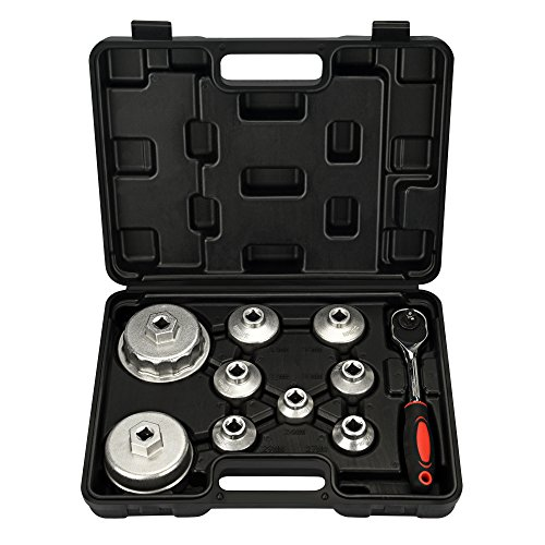 Mofeez Oil Filter Cap Wrench Metric 10-Piece Socket Set Tool Kit 24mm to 65mm for BMW, Mercedes, VW Paper Toyota 1.8L 2.5L 5.7L Engine by Mofeez