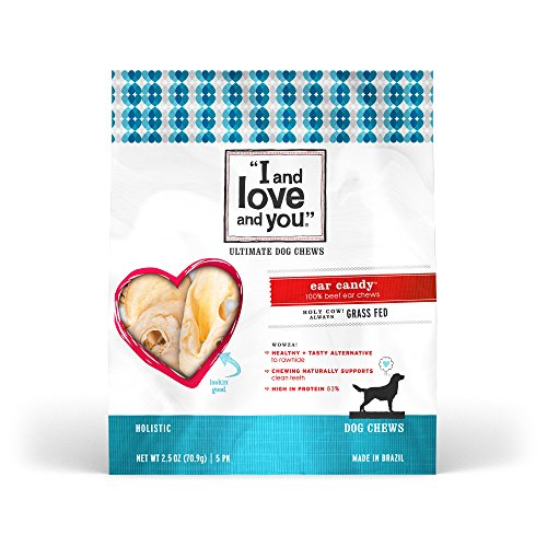 """I and love and you"" Ear Candy Cow Ears Grain Free Dog Chews, 2.5 oz (Candy Treat Ideas)"