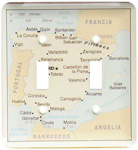 3dRose lsp_119795_2 Modern Map of Spain with Cities Double Toggle Switch by 3dRose