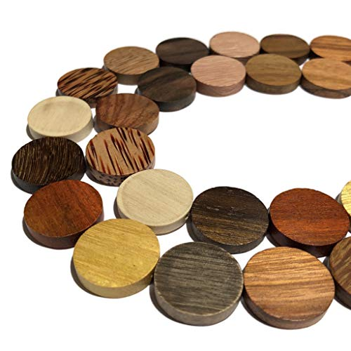 [ABCgems] Extremely Rare Premier Wood Collection (Combination of Up to 12 Different Exotic Hardwood) Precision-Cut 15mm Coin Shape Beads for Beading & Jewelry Making