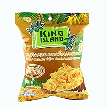 King Island Roasted Coconut Chips Original 40 g, Healthy snack (Caramel)