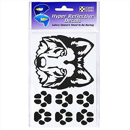 Seward Street Studios Reflective Decals Wolf Head Set Wolf Head Safety Sticker Kit Wolf Head Reflector Stickers