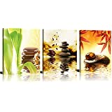 """ModeArt Wall Art 3 Pieces Four Season Golden Spa Artworks with Zen Stone Red Green Leaf HD Photos Canvas Prints for Living Room Bathroom Decorations 12""""x16""""x3pcs"""