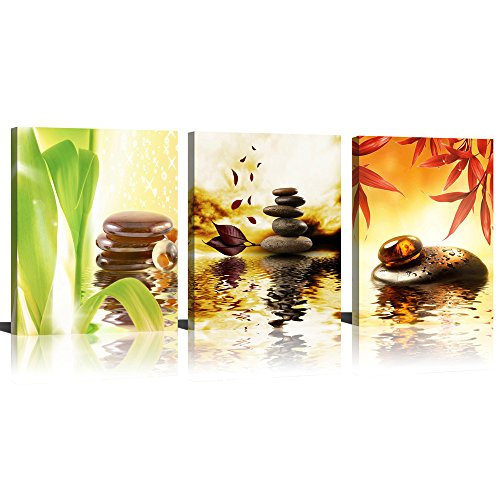 ModeArt Wall Art 3 Pieces Four Season Golden Spa Artworks with Zen Stone Red Green Leaf HD Photos Canvas Prints for Living Room Bathroom Decorations ()