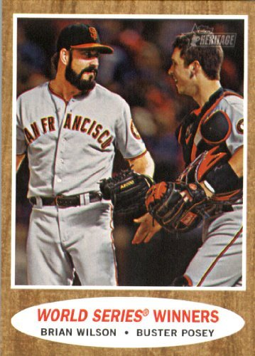 2011 Topps Heritage Baseball Card # 423 Brian Wilson / Buster Posey - San Francisco Giants (World Series Winners) MLB Trading Card in Screwdown Case