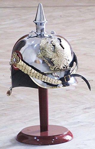 Hat Officer Costume German (German Prussian Steel & Brass Pickelhaube Helmet With FR Badge Military Officer Spike)