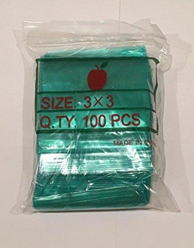 """3030 Apple Mini Ziplock 100 Baggies Green Color Colored 100 Bags 3"""" X 3"""""""
