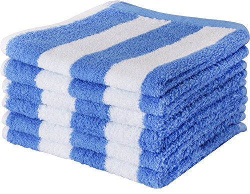 Luxury Cotton Washcloths in Cabana Stripe (6-Pack, Blue, 13x13 Inches) - Easy Care, Fingertip Towels, Facial Towelettes - by Utopia Towels (Stripes Washcloth)