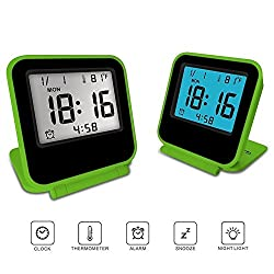 FlatLED Travel Alarm Clock, LCD Ultra-thin Clamshell 12/24 Hour with Temperature Date Week Repeating Snooze LCD Digital Screen Alarm Clock (Green)