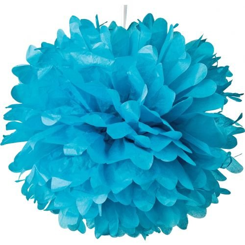 Luna Bazaar Tissue Paper Pom Pom (10-Inch, Turquoise Blue) - for Baby Showers, Nurseries, and Parties - Hanging Paper Flower Decorations