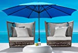 Cheap New Cielo-blue Deluxe 9′ Outdoor Patio Beach Garden Umbrella Shade with Crank and Air Vent Blue