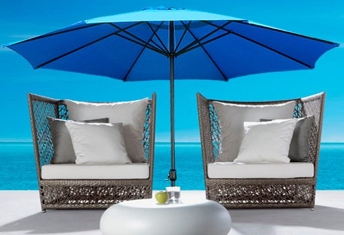 New Cielo-blue Deluxe 13′ Outdoor Patio Beach Garden Umbrella Shade with Crank and Air Vent Blue