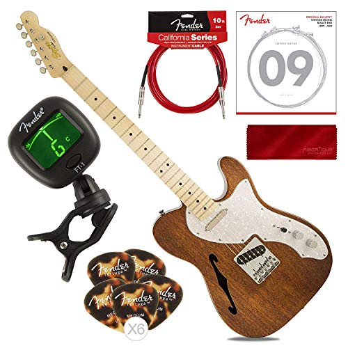 Squier by Fender Classic Vibe Telecaster Custom Beginner Electric Guitar, Natural with Tuner, Strings, Picks, Cable & Cloth Basic Bundle096259946541