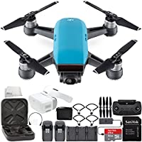 DJI Spark Portable Mini Drone Quadcopter Fly More Combo Virtual Reality VR FPV POV Experience Ultimate Bundle (Sky Blue)