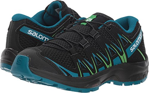 Salomon Kids XA Pro 3D J, Trail Running Shoe, black / deep lagoon / onlime lime ,  Child 4 (Salomon Mens Xa Pro 3d Trail Running Shoe)