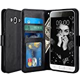 J3 Case, Express Prime Case, Amp Prime Case, LK Luxury PU Leather Wallet Case Flip Cover with Card Slots & Stand For Samsung Galaxy J3 / Express Prime / Amp Prime, BLACK