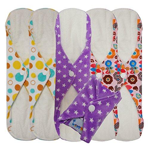 Love My/Mama/Girl/Maiden/Antibacterial Bamboo Fiber/Menstrual Pads/Reusable/Panty Liners - 6pcs Pack-(Large Size)
