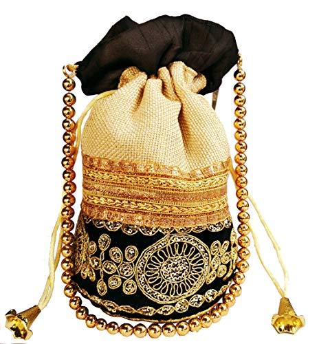 (Purpledip Rich Velvet & Jute Potli Bag (Clutch, Drawstring Purse, Evening Handbag) For Women With Gold Embroidery Work and Golden Beads String, Black (11474))
