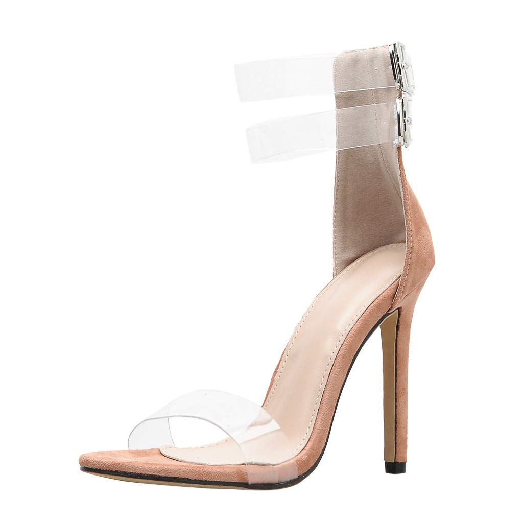 Claystyle Women's High Heels Sandals Ankle Strappy Clear Dress Party Pumps Shoes Roman Sandal(Beige,US: 7)