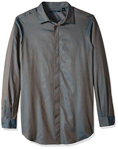 Perry Ellis Button Down Dress Shirt (Perry Ellis Men's Big Long Sleeve Solid Jacquard Shirt, Blue Coral, 2XL Tall)