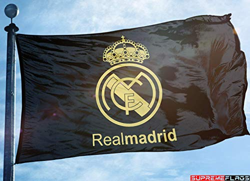 (Real Madrid Flag Banner 3x5 Futbol Soccer Bandera Negra Black Gold Premium)