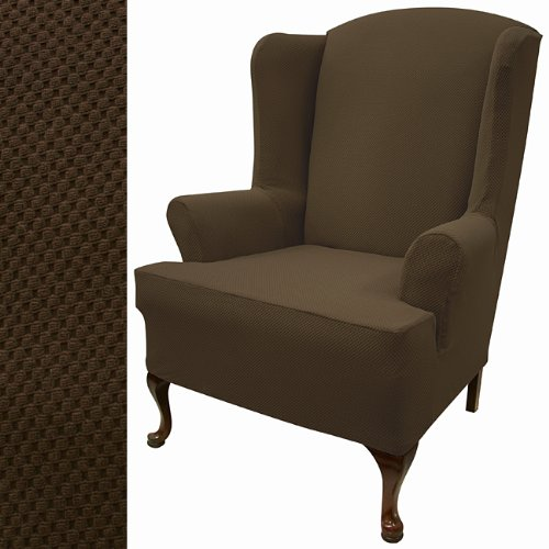 Stretch Pique Dutch Chocolate Wing Chair Slipcover 711