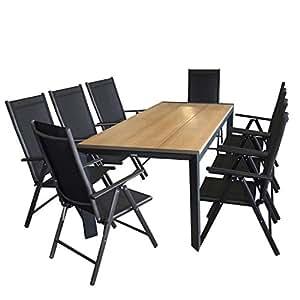 MultiStore Jardín Jardín Mesa, polywood mesa placa teakfarben, estructura de aluminio negro, 205x 90cm + 8x Respaldo Alto, Cordaje Negro, respaldo 7posiciones, estructura de aluminio negro