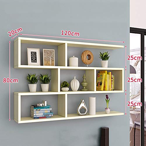 ZHAS Bookshelf On The Wall Living Room Bedroom Clapboard Shelf Closet Wine Rack Wall-Mounted (Color : White Maple Color, Size : 120 15 - Rack Wine Maple Wall