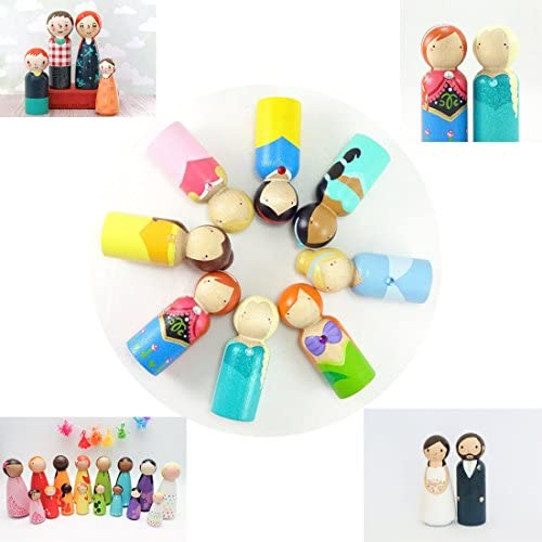 Coskiss 100pcs Madera Personas Color madera 100pcs 1.77 Solid Hard Nature Unfinished Alta Calidad Gangway Ready Paint o Stained Wooden Doll 45mm ni/ña