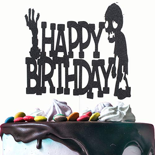 Happy Birthday Cake Topper - Black Glitter Silhouette Zombies Monster Hand Cake Picks Décor - Baby Shower Halloween Party Supplies - Kids Birthday Decoration]()